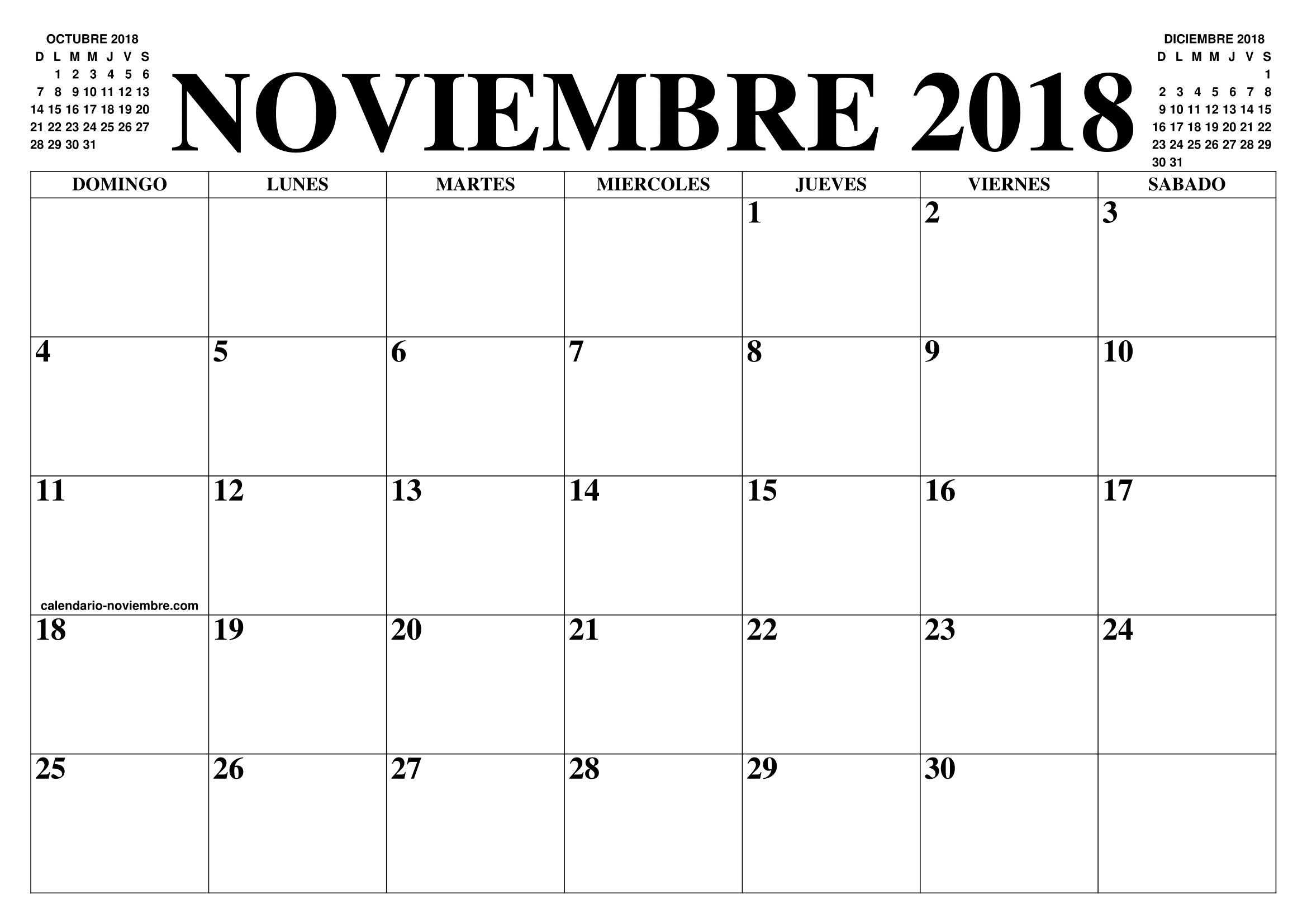 Calendario noviembre 2018 para imprimir for Almanaque de pared 2018