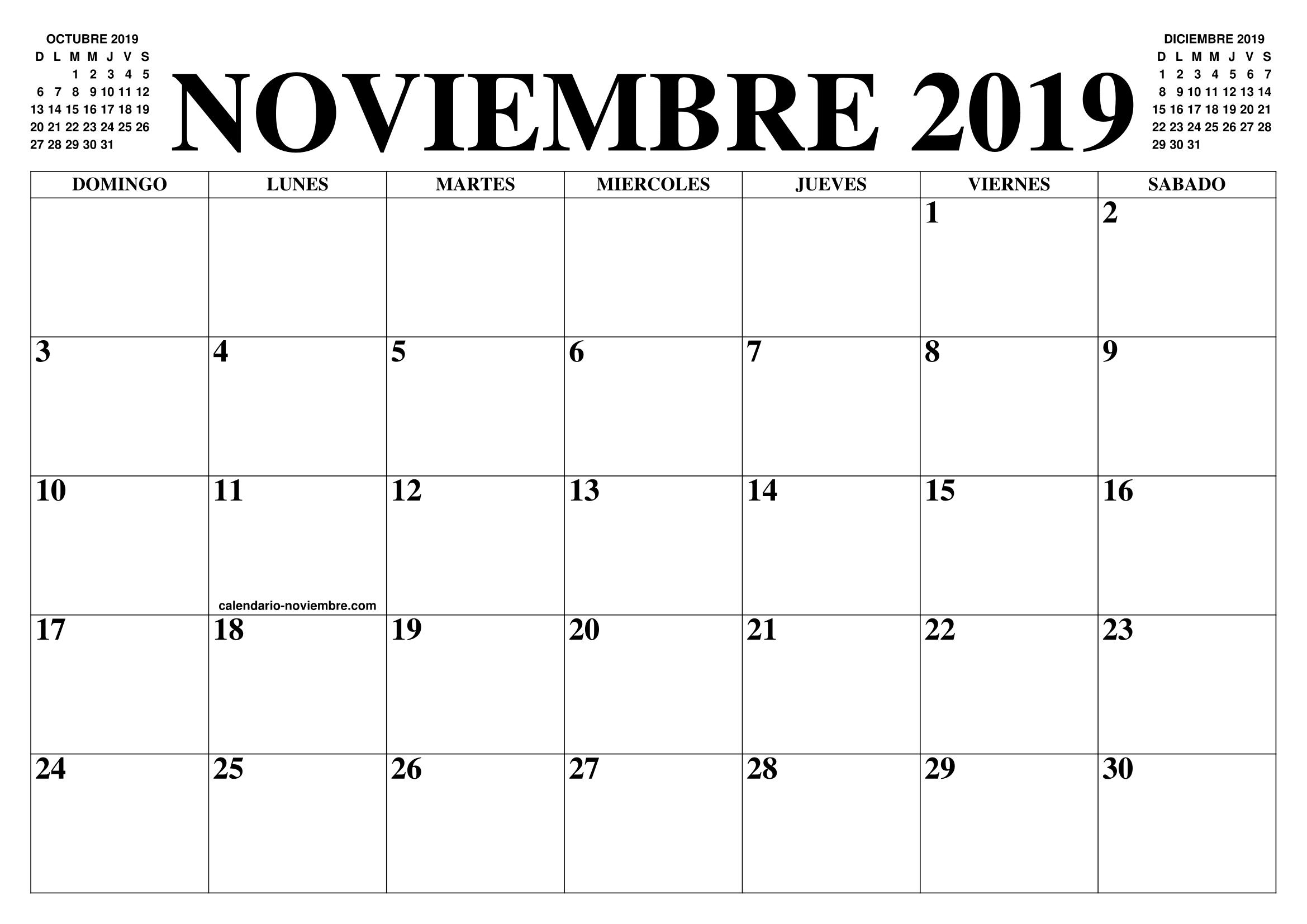 Imprimir Calendario 2020 Por Meses.Calendario Noviembre 2019 2020 El Calendario Noviembre 2019