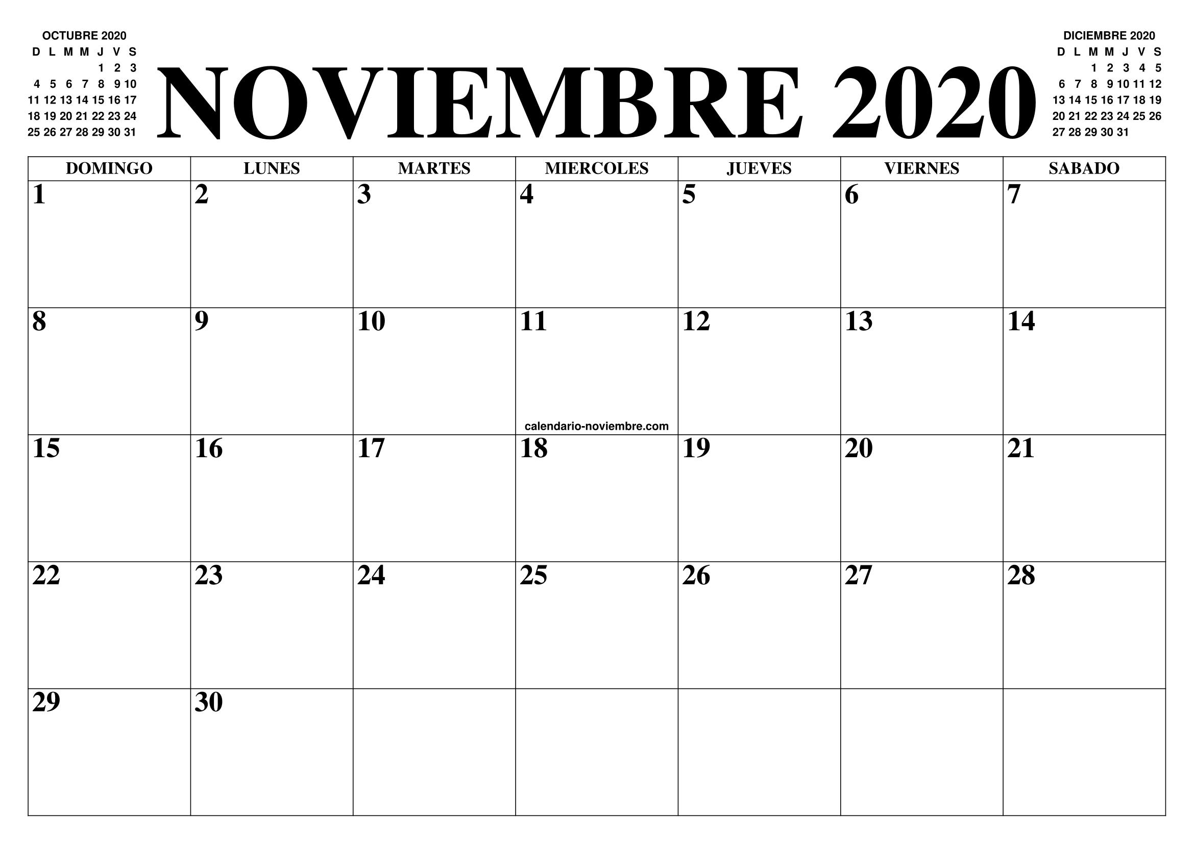 Calendario Diciembre 2020 Para Imprimir.Calendario Noviembre 2020 El Calendario Noviembre Para Imprimir