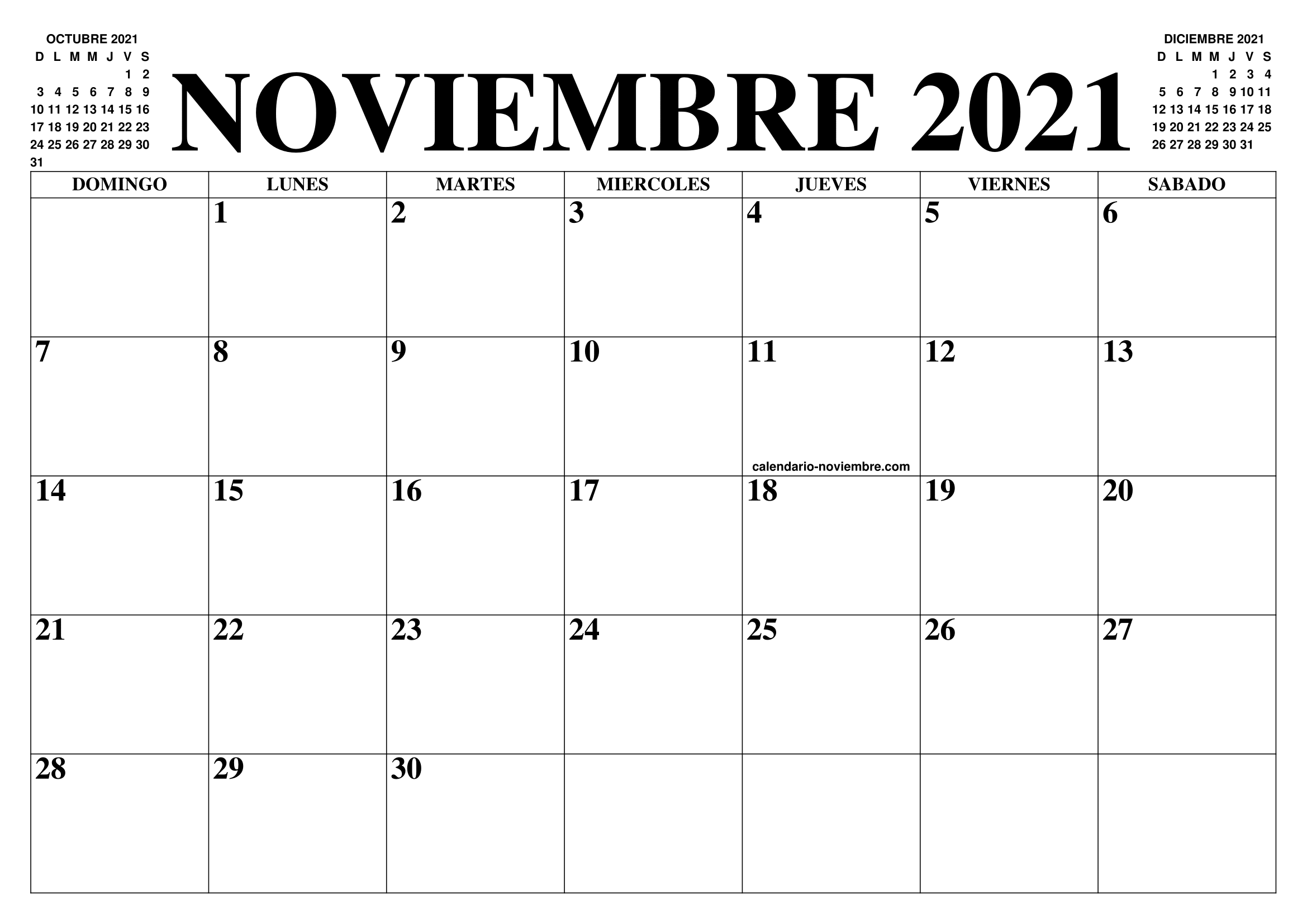 CALENDARIO NOVIEMBRE 2021 : EL CALENDARIO NOVIEMBRE PARA IMPRIMIR